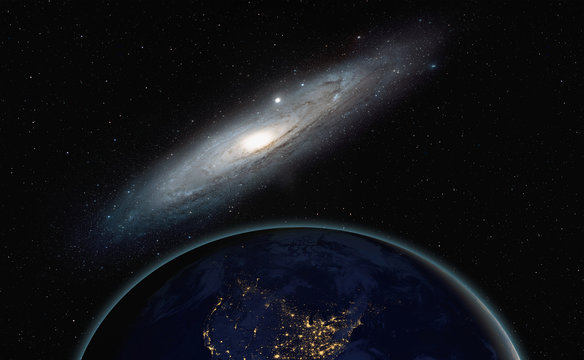 "View of the planet Earth from space with The Andromeda Galaxy ( Messier 31) "" Elements of this image furnished by NASA"""