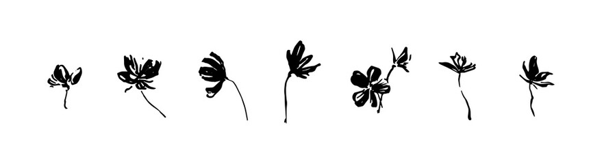 Set of hand drawn simple tree flowers. Grunge style brush painting vector silhouette. Black isolated vector on white background. Fototapete