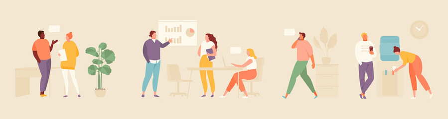 Business people in the office. Moments of office life set flat illustration