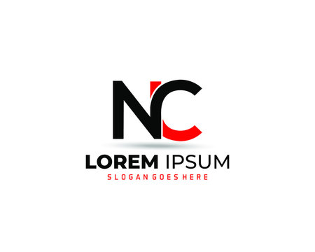 NC Modern Letter Logo Design with Red and black color