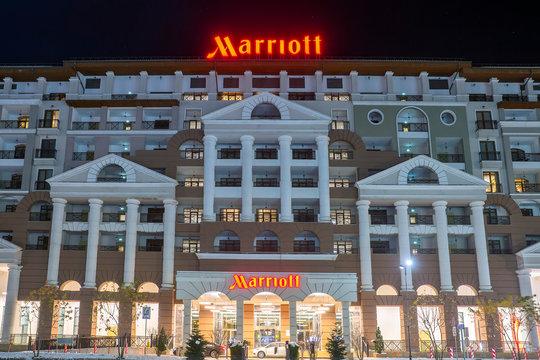 SOCHI, RUSSIA - DECEMBER 5,2019: facade of the Marriott hotel in the ski resort Krasnaya Polyana in Sochi