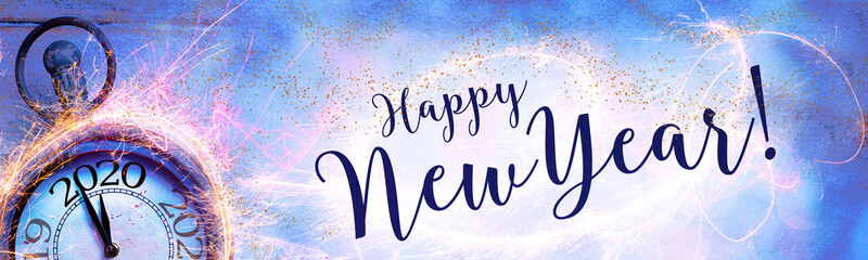 Happy New Year 2020 - Abstract background with clock, fireworks and snow - Panorama, banner, header  - Congratulations, greeting card