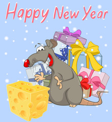 Vector Illustration of Cute Cartoon Character Rat and Christmas gifts. Christmas card. Greeting Card