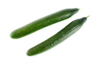 Organic Cucumbers On White Background