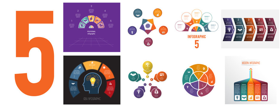 Set 8 universal templates for Infographics conceptual cyclic processes for 5 positions possible to use for workflow, banner, diagram, web design, timeline, area chart,number options