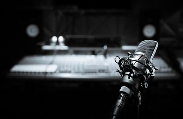 black and white condenser microphone in recording studio