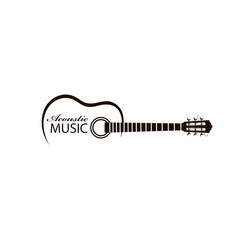icon of classical acoustic guitar isolated on white background