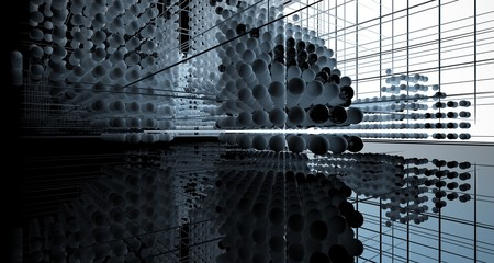 Abstract black interior from array white spheres with window. 3D illustration and rendering. Fotoväggar