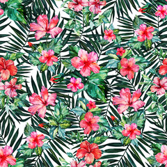 Seamless pattern. Tropical plant. Leaves and flowers on white background. Hibiscuses. Watercolor drawing. For design, decoration,background, illustration, textiles, and Wallpapers.