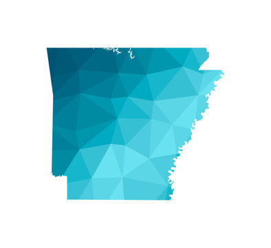 Vector isolated illustration icon with simplified blue silhouette of Arkansas map - state of the USA. Polygonal geometric style. White background