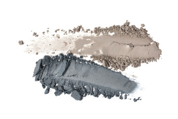 Smear of nude and gray eyeshadow isolated on white