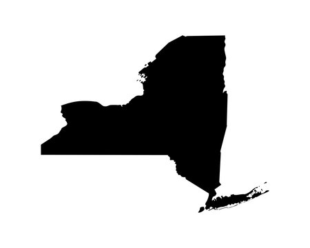 Vector isolated simplified illustration icon with black silhouette of New York map - state of the USA. White background