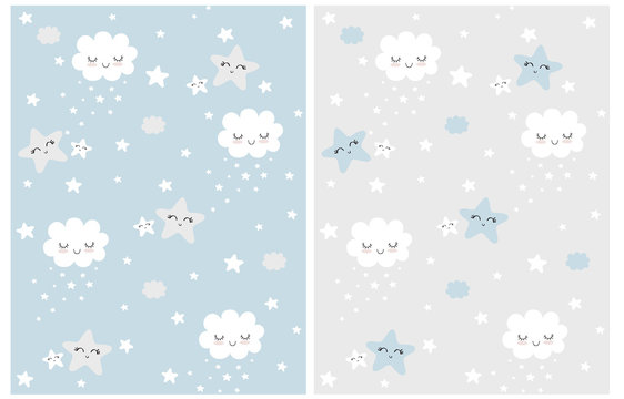 Cute Simple Seamless Patterns with White Fluffy Smiling Clouds and Stars on a Light Gray and Blue Background. Simple Nursery Art for Baby Boy. Print with Clouds and Stars Isolated on a Blue and Gray.