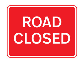 Red road closed sign