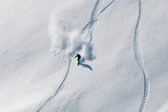 Freerider snow trails in the new powder
