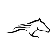simple abstract logo horse racing