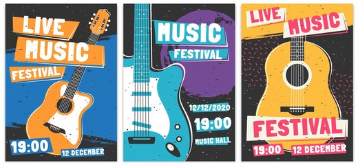 Music festival posters. Live acoustic guitar music concert poster, rock fest flyer and creative brochure template vector set. Rock n roll concert advertising banner concept. Entertainment event promo Wall mural