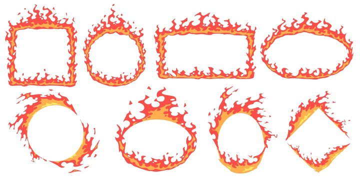 Cartoon fire frames. Hot banner, red flame frame and fire flames badge template vector set. Empty burning borders with copyspace. Blazing different geometric shapes isolated on white background