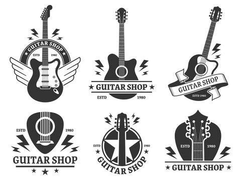 Guitar shop badges. Custom guitars shop emblem, guitar headstock and music instruments store badge vector illustration set. Musical company monochrome emblem designs pack. Musicians equipment sale