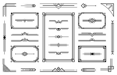Linear geometric Art Deco ornaments. Retro label frame, minimal decorative ornament dividers and ornamental borders vector set. Creative geometric decorative design elements collection