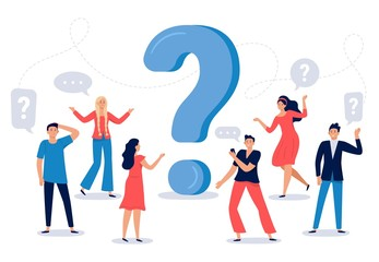 People ask question. Confused person asking questions, crowd finding answers and question sign vector illustration. Collective brainstorm, mutual assistance concept. Public problem solution platform