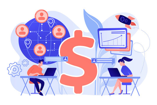 Salespeople team working remotely with customers all over the world and dollar sign. Virtual sales, remote sales method, virtual sales team concept. Pink coral blue vector isolated illustration