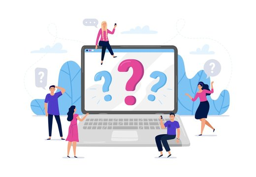 Online question answers search. Question sign on laptop computer screen, confused people asking questions vector illustration. Men and women using laptop, searching for problem solution on internet