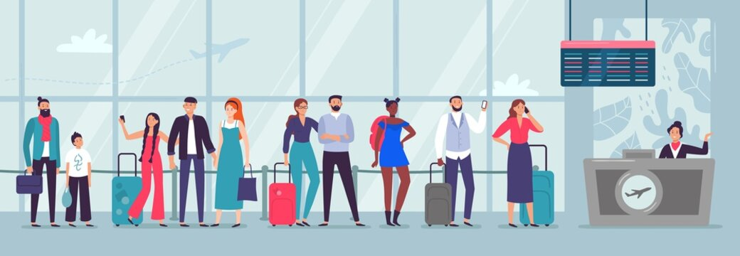 Queue to airport check-in. Travelers waiting in line, people wait for plane and person checking in airline departure area vector illustration. Airline transportation service. People going on vacation