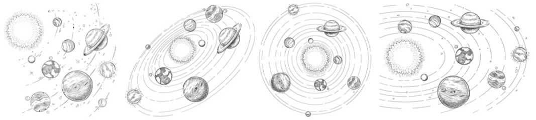 Sketch solar system. Hand drawn planets orbits, planetary and earth orbit vector illustration set. Astronomy themed coloring book drawings pack. Celestial bodies orbiting around sun in center Fotomurales