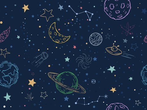 Color seamless space pattern. Hand drawn planets, cosmic galaxy texture and doodle moon vector illustration. Universe exploration, cosmos symbols texture. Colorful wallpaper, cosmic textile design