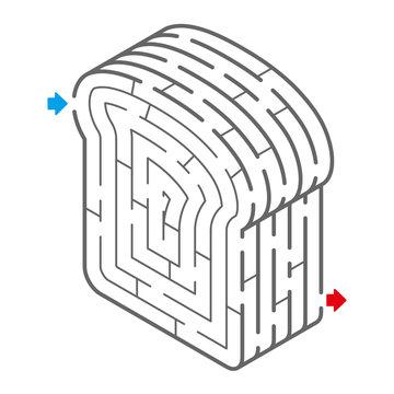 食パンのアイソメトリック迷路(塗り絵)