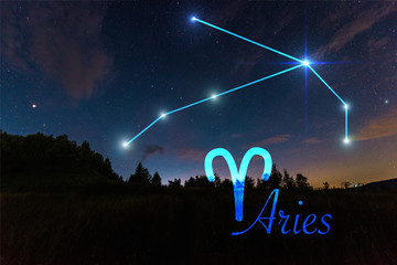 dark landscape with night starry sky and Aries constellation