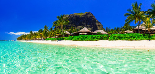 Perfect tropical getaway - holidays on stunning Mauritius island with white sandy beaches ad turquoise sea