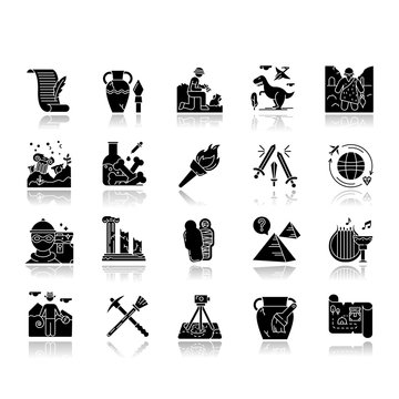 Archeology drop shadow black glyph icons set. Researcher on excavation. Ancient artifacts. Prehistoric life, culture. Field research. Vase restoration. Burning flambeau. Isolated vector illustrations