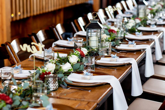 decorated table for wedding reception