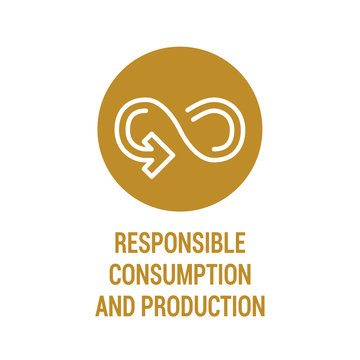 Responsible consumption and production color icon. Corporate social responsibility. Sustainable Development Goals. SDG color sign. Reduce the negative impact on the environment, and on human health