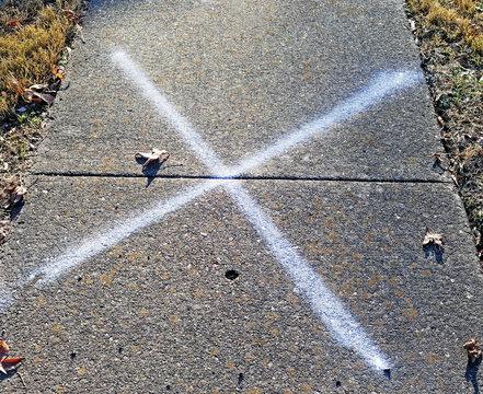 mark, spot, x, letter, metaphor, shapes, pavement, treasure hunt, treasure, sidewalk, construction, rough, texture, surface, abstract, x marks the spot