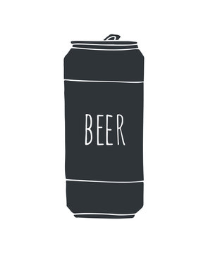 Vector black hand drawn sketch doodle beer can isolated on white background