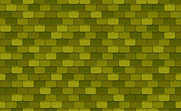 Green roof tiles seamless pattern