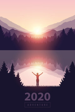 girl with raised arms by the lake at sunrise nature landscape vector illustration EPS10