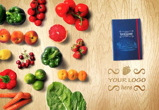 Organic Food Recipe Book Mockup