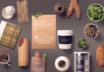 Organic Food Bread and Spices Mockup