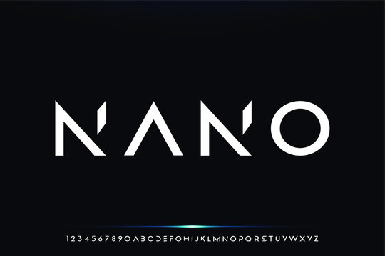 nano. Abstract technology science alphabet font. digital space typography vector illustration design
