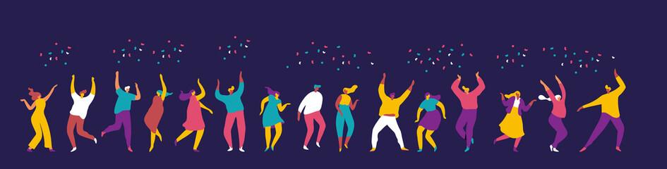 Dancing people flat vector set. Young people having fun. Party. Celebration. Papier Peint