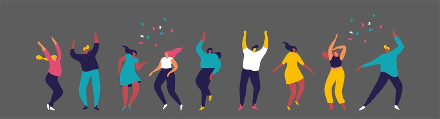 Dancing people flat vector set. Young people having fun. Party. Celebration.