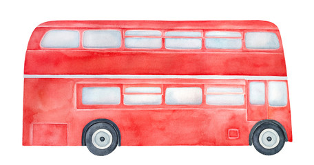 Bright red double-decker bus with light blue windows and black wheels. Handdrawn water color sketchy draw, cutout clipart element for design decoration, poster, banner, sticker, print, greeting card.