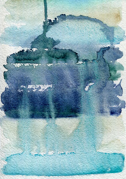 Blue watercolor painting on paper