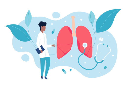Pulmonologist examines the lungs. The concept of pulmonology and a healthy respiratory system.