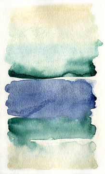 Watercolor lines on white paper art