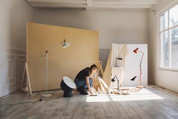 Woman Working at Photo Studio